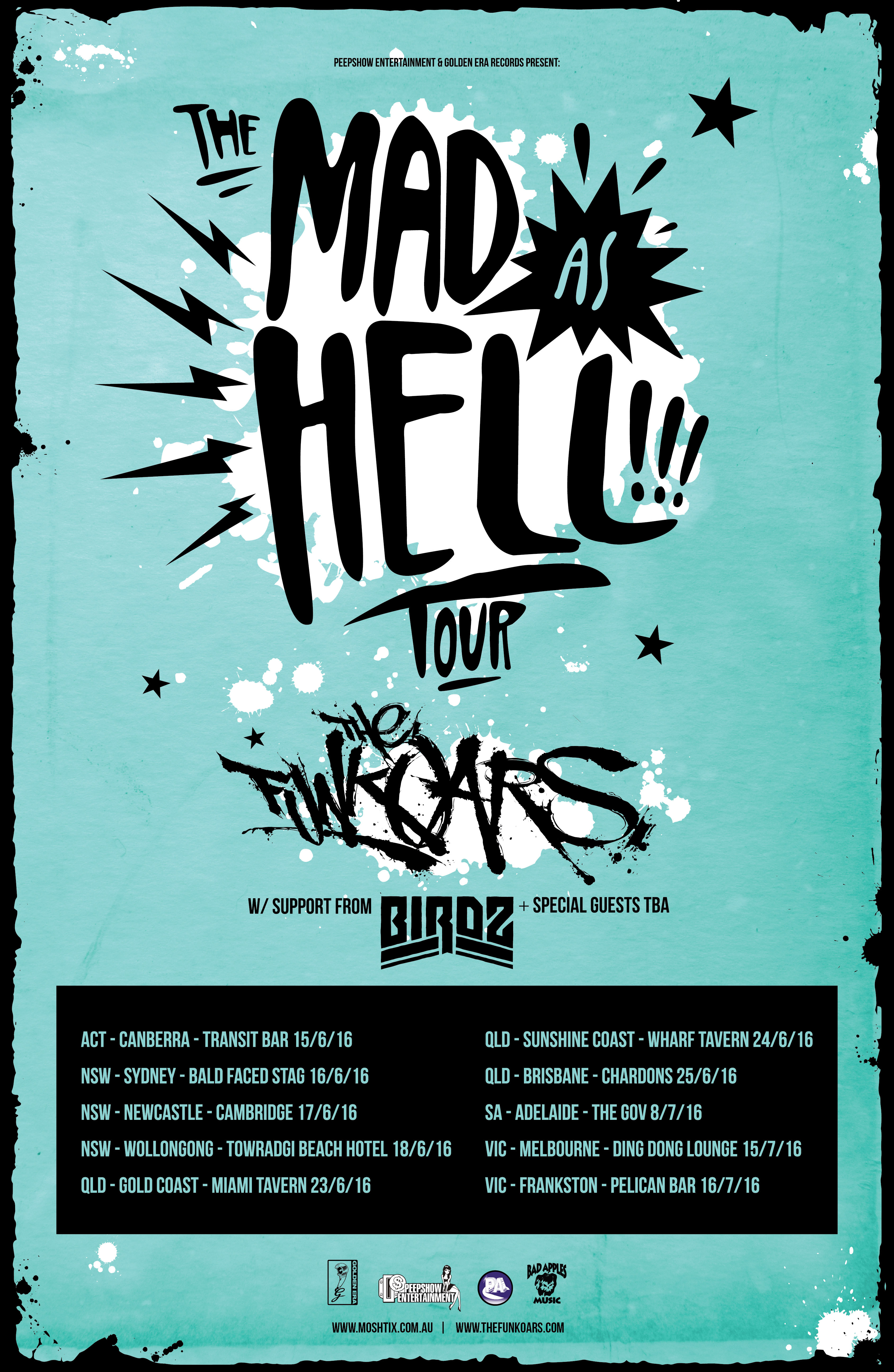 BIRDZ SUPPORTS THE FUNKOARS ON 'MAD AS HELL' TOUR